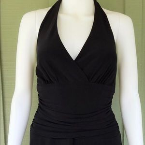 Jones New York Black Ruched Waist Halter Dress